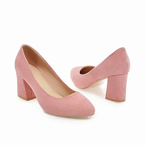 Mee Shoes Damen Blockabsatz Nubuckleder slip on Pumps Pink