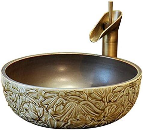 浴室設備アクセサリ 浴室容器シンク 陶芸流域洗面器 手彫り洗面台 レストランラウンドシンク (Color : Sink*1+Faucet*1, Size : 41*15cm)