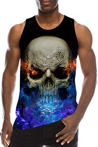 7cea9bcf26251 Men s Tank Tops 3D Printed Funny Blue Smog Skulls Black T-Shirts Gym  Compression Workout