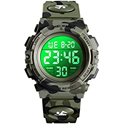 Venhoo Kids Watch Digital Outdoor Sport Waterproof 7 Colors EL-Lights Electrical Watches with Alarm Luminous Stopwatch Casual Child Wrist Watch for Teenager Boys Girls-Army Camouflage