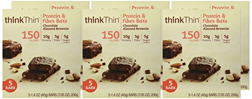ThinkThin Protein & Fiber Bars, Chocolate Almond Brownie, 5 Count (Pack of 6)