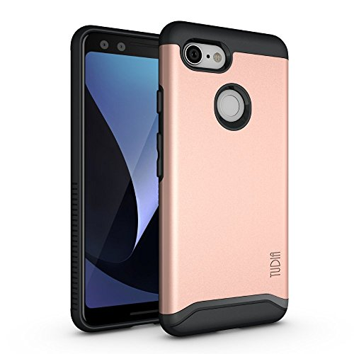 (Google Pixel 3 Case, TUDIA [Merge Series] Heavy Duty Extreme Protection/Rugged with Dual Layer Slim Precise Cutouts Phone Case for Google Pixel 3 (Rose Gold))