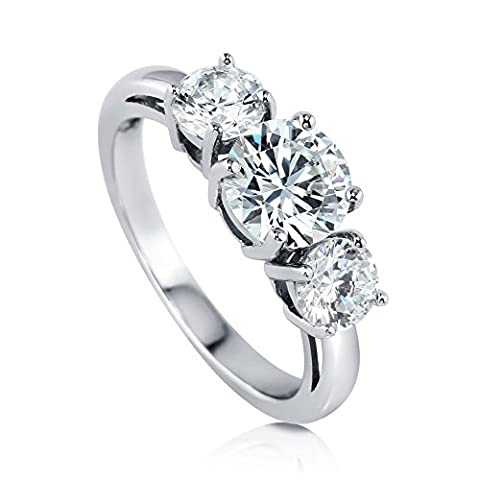 BERRICLE Rhodium Plated Sterling Silver Round Cut Cubic Zirconia CZ 3-Stone Engagement Ring Size 4 - 3 Stone Four Prong Ring