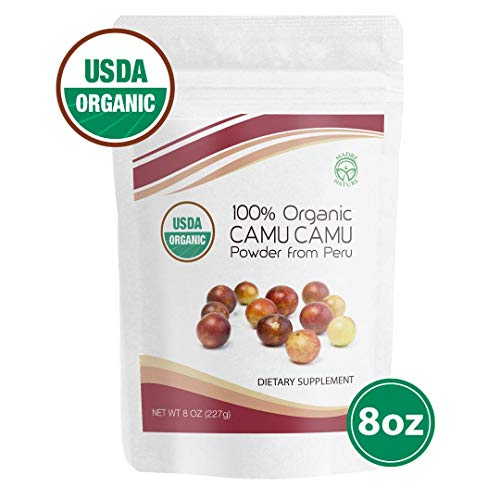 Madre Nature - 100% USDA Organic Camu Camu Powder 8oz Value Pack - Raw Peruvian Camu Camu Powder from High Concentrated Pulp - non-GMO - Vegan - Gluten Free (8oz) - Powder Camu