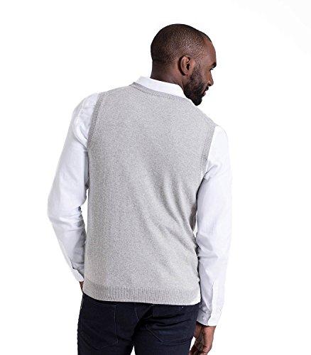 WoolOvers Pullunder aus Baumwolle-Kaschmirwolle für Herren Grey Marl, L