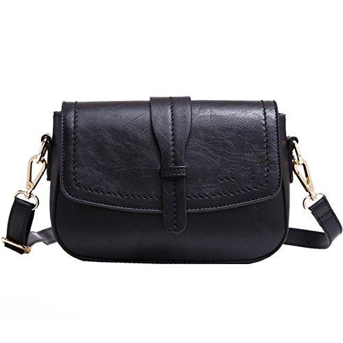BAILIANG Womens PU Shoulder Bag Sac à Main Bandoulière Simple Vintage Black