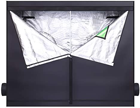 Knocbel Indoor Hydroponic Grow Tent Heavy-Duty Metal Frame with Observation Window, Floor Tray Hanging Bars for Home Use Plant Growing Black 96 L x 48 W x 80 H