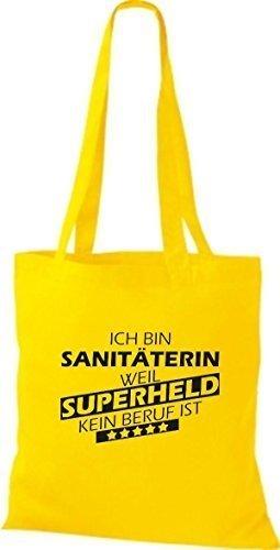 shirtstown Borsa di stoffa SONO sanitäterin, WEIL supereroe NESSUN lavoro è Giallo