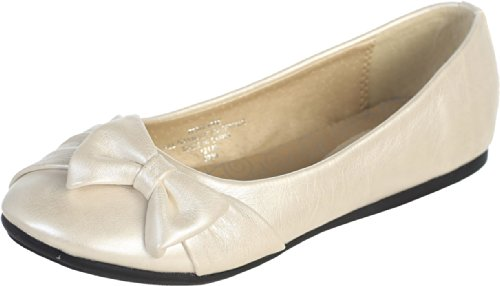 Dempsey Marie Ivory Pearl Girl's Flat Shoes with Side Bow Girl -