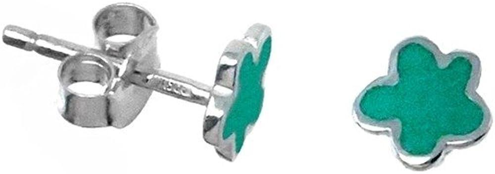Pendientes plata Agatha Ruiz de la Prada 6mm. flor verde [AB5830]