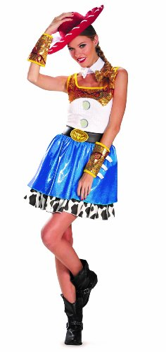 Disguise Disney Pixar Toy Story Jessie Glam Womens Adult Costume, Blue/White/Yellow/Black, (Adult Disney Characters Costumes)