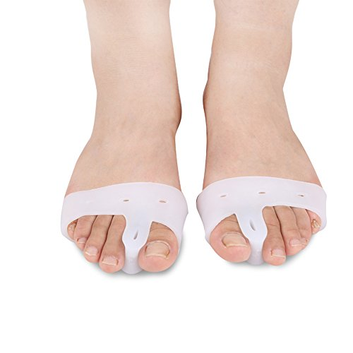 Bunion Corrector, 2pcs Gel Toe Separators Splint Protector Toe Pain Hallux Valgus Relief Big Toe Spacers for Women & Men (White) by ASWiiiNDS