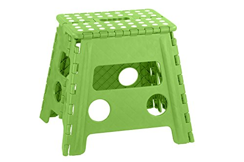 Home Basics FS10859-Grn Bright Folding Stool with Non-Slip Dots, Large, Green by Home Basics