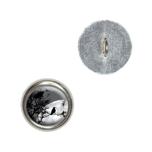 Raven at Night - Black Bird Full Moon Metal Craft Sewing Novelty Buttons - Set of 4