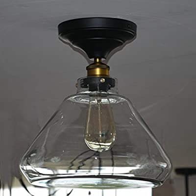 Electro_BP;Vintage Iron Glass Ceiling Light Fixture Flush Mount Light Panited Finish