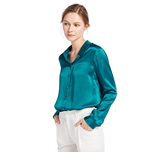 (LilySilk Women's 100% Silk Blouse Long Sleeve Ladies Shirts 22 Momme Pure Charmeuse Silk Dark Teal Size L)