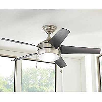 Windward 44 in. LED Indoor Brushed Nickel Ceiling Fan with Light Kit