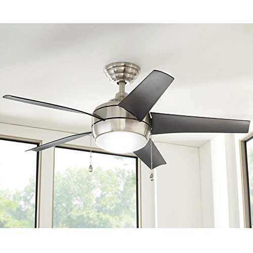 Windward 44 in. LED Indoor Brushed Nickel Ceiling Fan with Light Kit by Generic