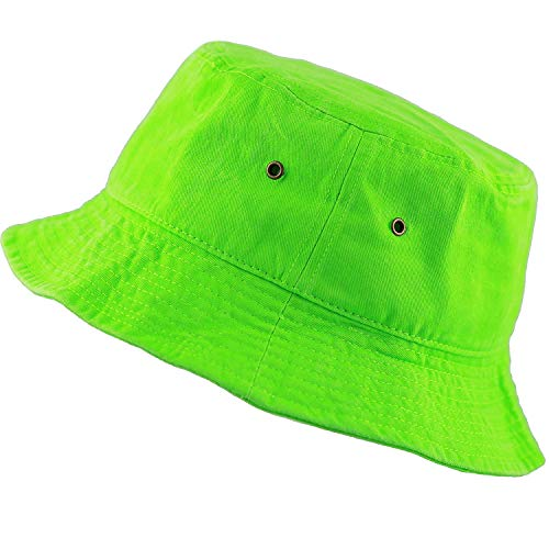 100% Cotton 10+ Colors Unisex Foldable Wide Brim Summer Outdoor Sun Protection Bucket Hat Neo Green-2, 22-22.8 inches