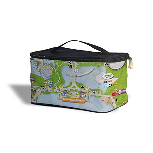 Queen of Cases Epcot Center Map Cosmetics Storage Case - One Size Cosmetics Storage Case - Makeup Zipped Travel Bag