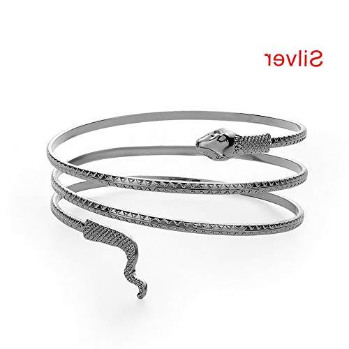 Werrox Coiled Snake Spiral Upper Arm Cuff Armlet Armband Bangle 7 Gemstone Bracelet-   Model BRCLT - 23803  