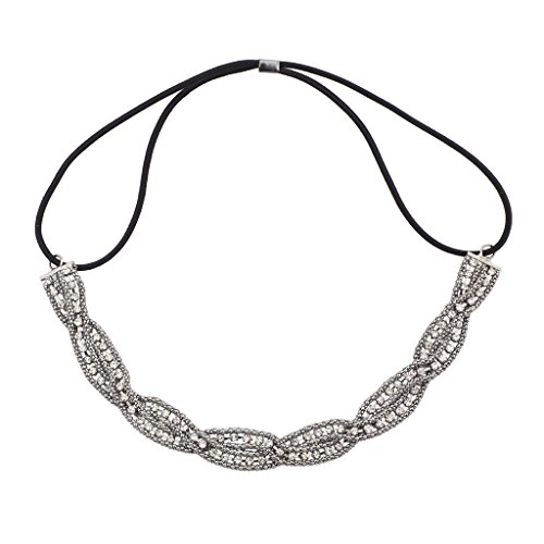 Crystal Stretch Band - Lux Accessories Hematite Braided Mesh Crystal Rhinestone Stretch Headband