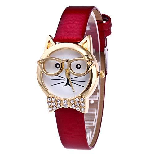 wsloftyGYd Cute Cat Face Round Dial Rhinestone Faux Leather Women Analog Quartz Wrist Watch Animal cat face Diamond Bow-tie Glasses cat Women's Quartz Watch Red
