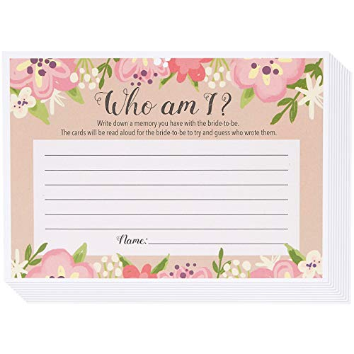 Floral Bridal Shower Who Am I Guessing Game, Rustic Bachelorette Party (50 Pack, 5 x 7 Inches)
