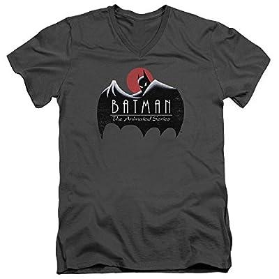 Batman The Animated Series Distressed Logo Mens V-Neck Shirt Charcoal Md
