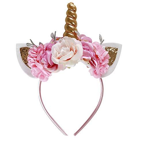 Shintop Unicorn Horn Headband, Shiny Flower Ears Headband for Halloween Party Supplier Cosplay Costume