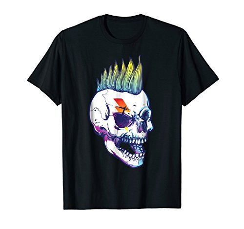 Halloween Skull Costume T-Shirt Mohawk 1980's Punk Rock Gift -