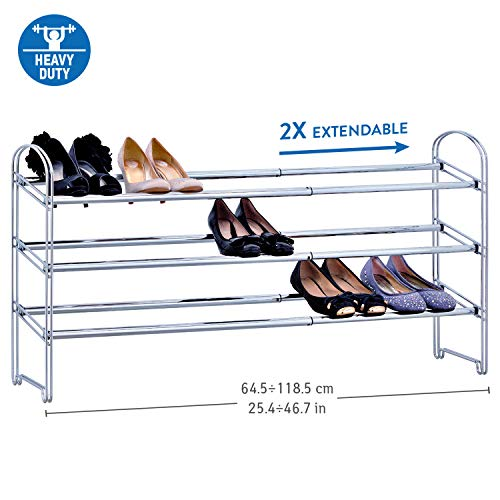 - Tatkraft Maestro Heavy Duty 3 Tier Shoe Rack Extendable Steel