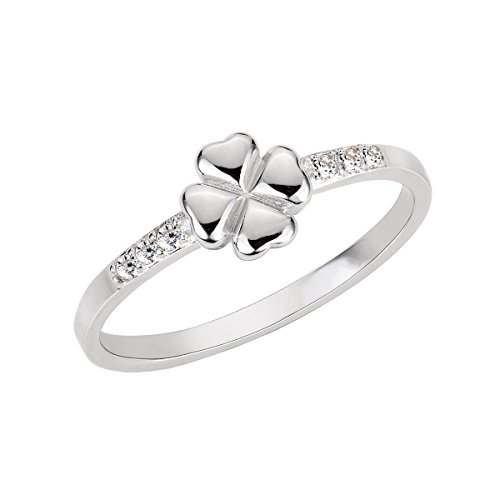 (Cubic Zirconia Four Leaf Clover Ring Sterling Silver Size 12)