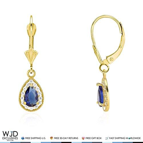 14K Yellow Gold Simulated Birthstone Milgrain Halo Teardrop Dangle Leverback Earrings, Sapphire ()