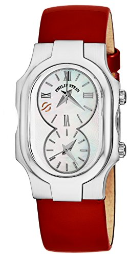 Philip Stein Signature Ladies Red Leather Strap Dual Time Watch 1-CMOP-LR