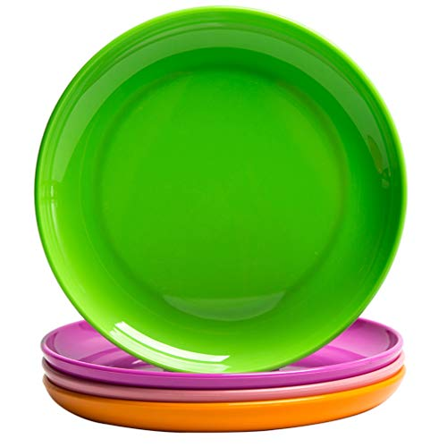 (MICHLEY 4-Piece Dinner Plate Set Multicolor, Dishwasher and Microwave Safe Tritan Plastic Dessert Plates)