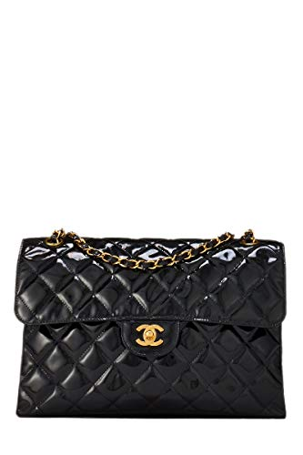 CHANEL Black Quilted Patent Leather Double Sided Classic Flap Jumbo (Pre-Owned)