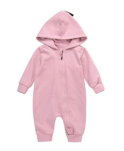 Romper Baby Costume (Cute Baby Boy Girl Animal Dinosaur Long Sleeve Hoodie Romper Baby Costumes Jumpsuit (6-12M, Pink))