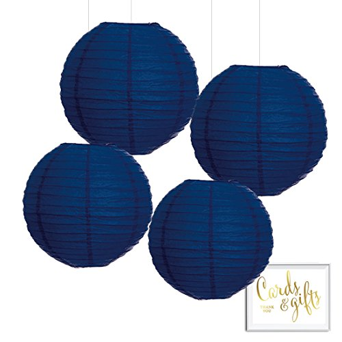 Andaz Press Hanging Paper Lantern Party Decor Kit with Free Party Sign, Navy Blue, 4-Pack, Baby Bridal Shower Wedding Birthday Nautical Ocean Decorations