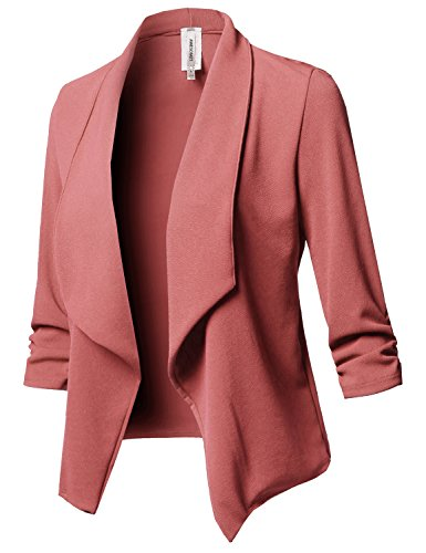 Stretch 3/4 Gathered Sleeve Open Blazer Jacket Mauve 2XL