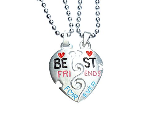 exoticdream Best Friends Forever Split Pewter Pendant Jewelry + 2 x 24' Ball Chain Necklace IV