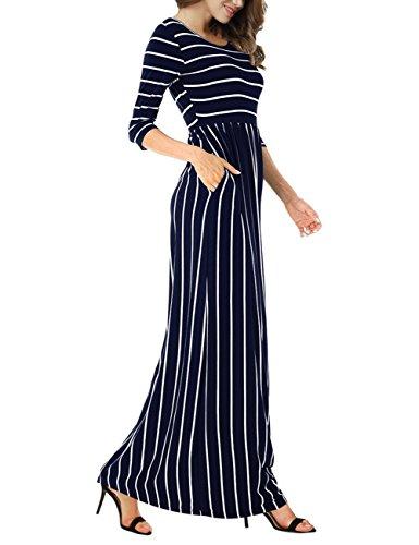 Yiwa Femmes Occasionnels Col Rond Manches 3/4 Robe Longue Bande De Taille Élastique Robes Modestes Bleu