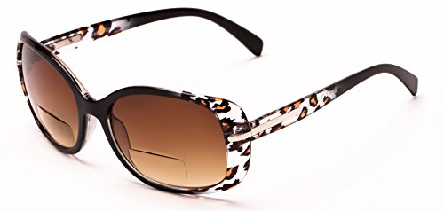 Amber Leopard (Readers.com The Cassia Bifocal Sun Reader +2.50 Black Leopard with Amber Colorful Animal Print Bifocal Sunglasses for Women Rectangle Reading Glasses)