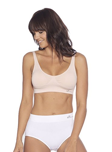 Boody Body EcoWear Women's Padded Shaper Bra - Seamless Cooling Bra Made from Natural Organic Bamboo Viscose - Soft Breathable Eco Fashion for Sensitive Skin - Beige, Medium - Organic Cotton Crop