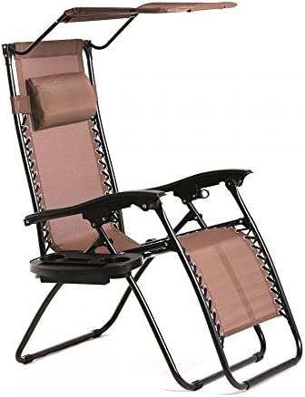 New Zero Gravity Chair Lounge Patio Chairs Outdoor with Canopy Cup Holder