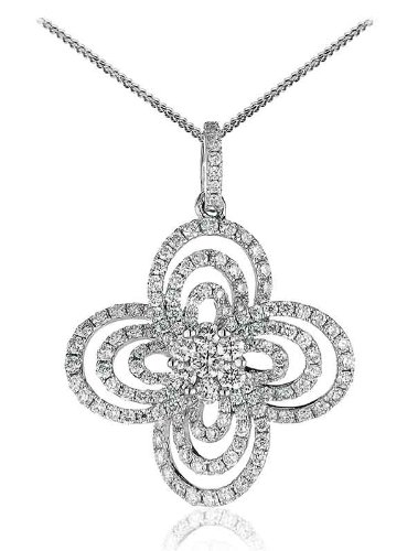 1.15CT Certified G/VS2 Round Brilliant Cut Cluster and Trilogy Fancy Club Shape Halo Diamond Pendant in 18K White Gold