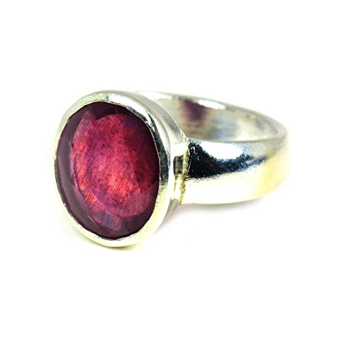 Jewelryonclick 5 Carat Gemstone Natural Ruby 92.5 Sterling Silver Simple Genuine Ring For Men