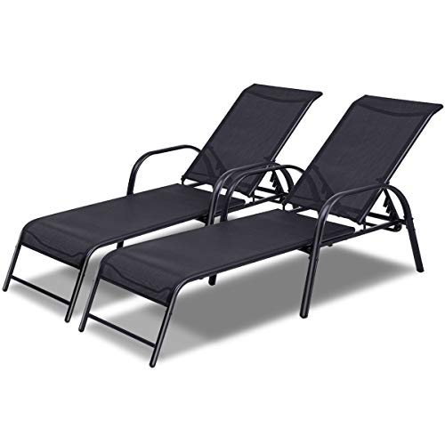 TANGKULA Patio Lounge Chairs Sling Chaise Lounges Recliner Patio Furniture W/Adjustable Back (2)