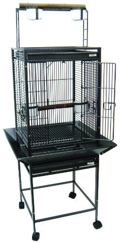 YML 1/2-Inch Bar Spacing Play Top Wrought Iron Parrot Cage, 18-Inch by 18-Inch in Antique Silver by YML