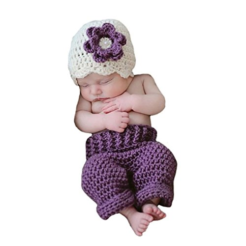 Ufraky Newborn Infant Baby Boy Photography Prop Purple Flower Crochet Hat Pants -